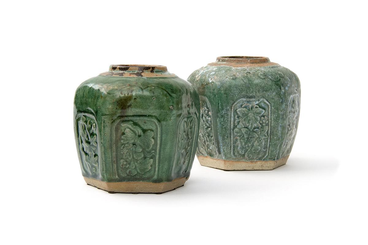 Pair of Antique Ceramic Salt Jars in Hexagonal Form