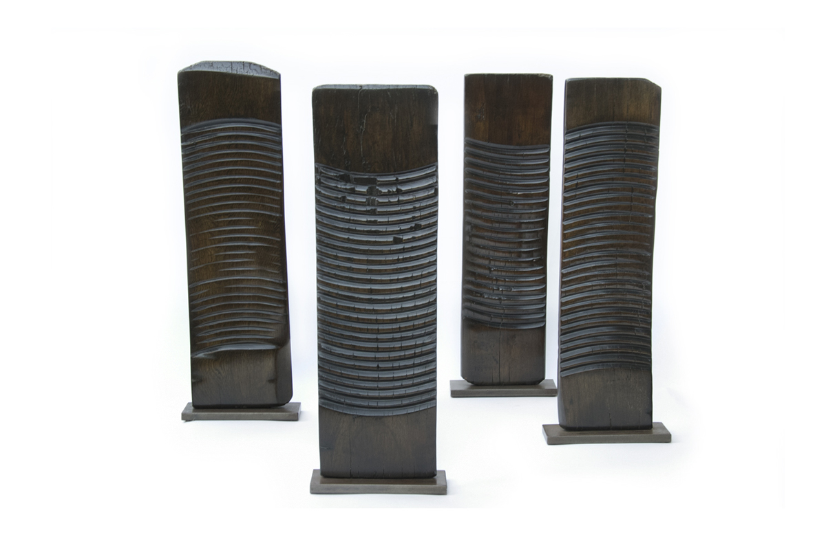 Antique Chinese Washboards Mounted on Bronze Bases