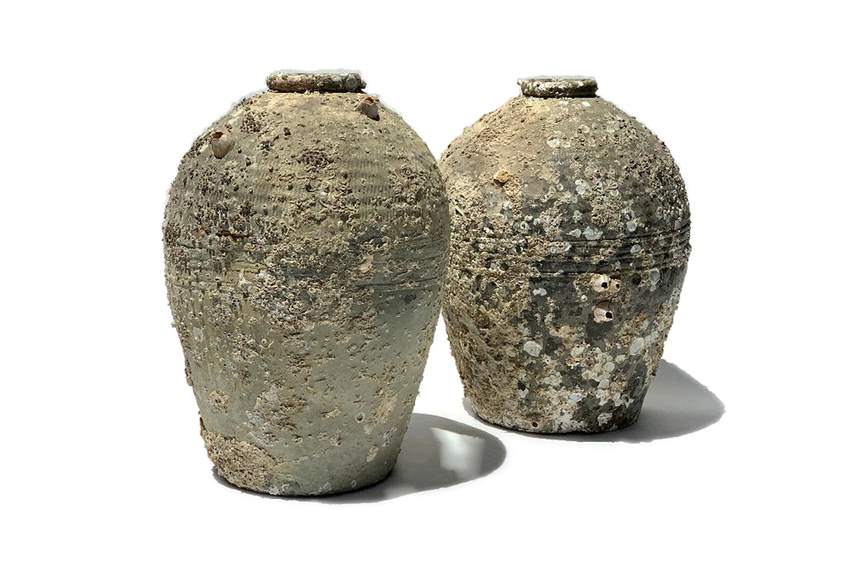 Large Antique Storage Jars with Crustaceans