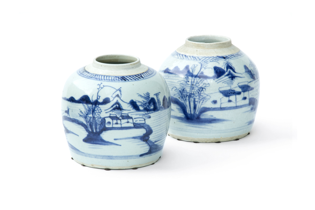 Pair of Antique Ginger Jars with Differing Tranquil Landscapes