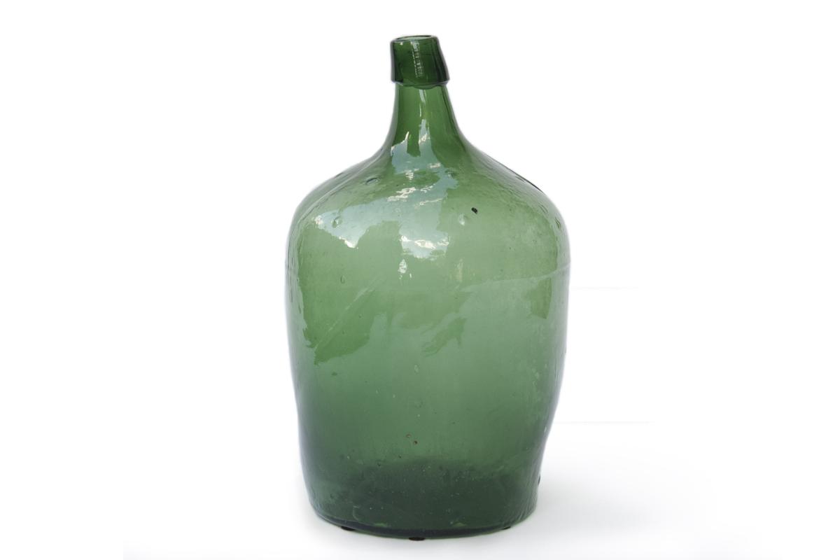 Antique Green Demijohn Bottle from France