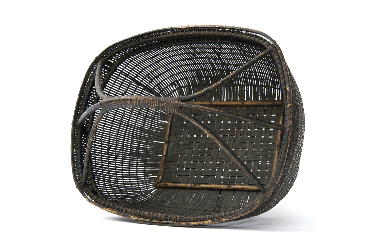 Antique Indonesian Woven Basket on Footed Base