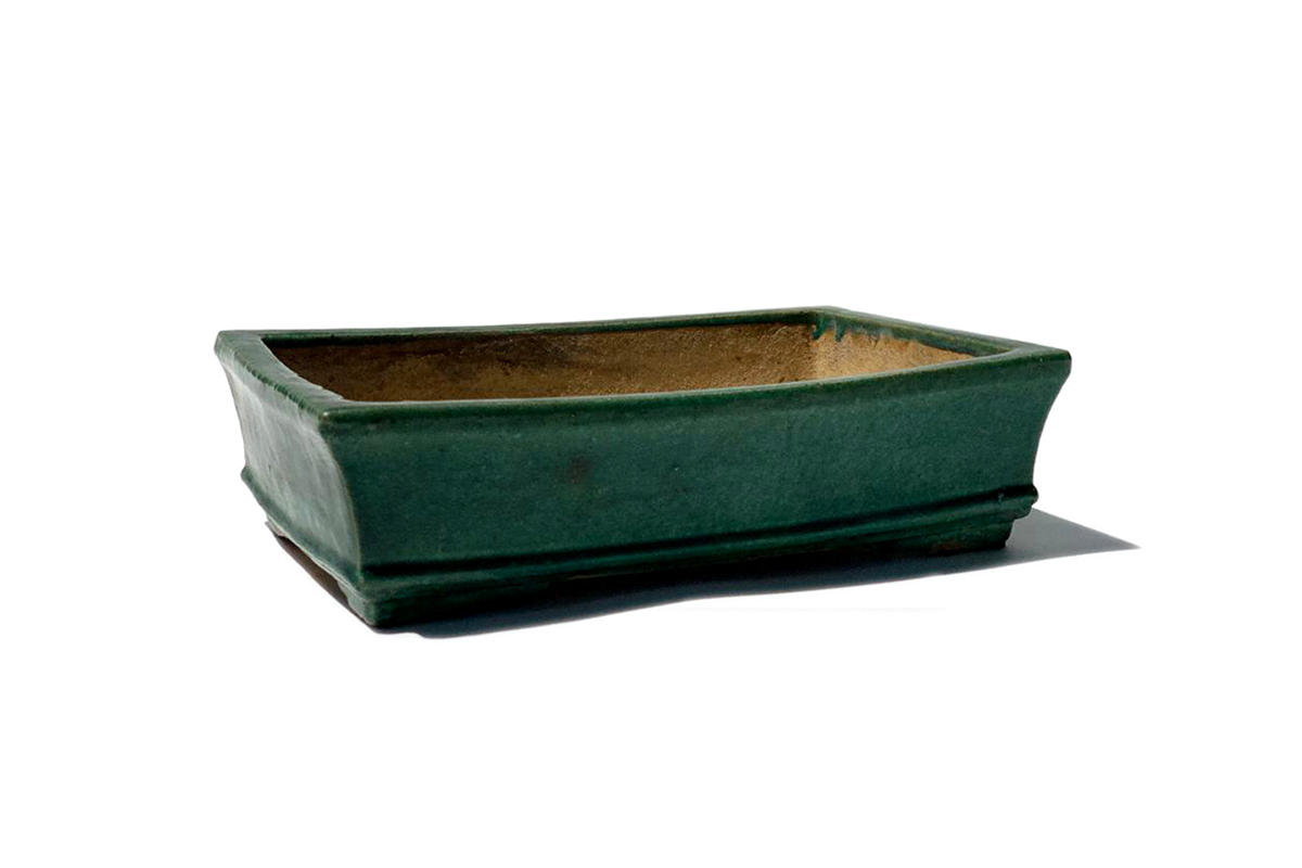 Antique Green Ceramic Footed Planter
