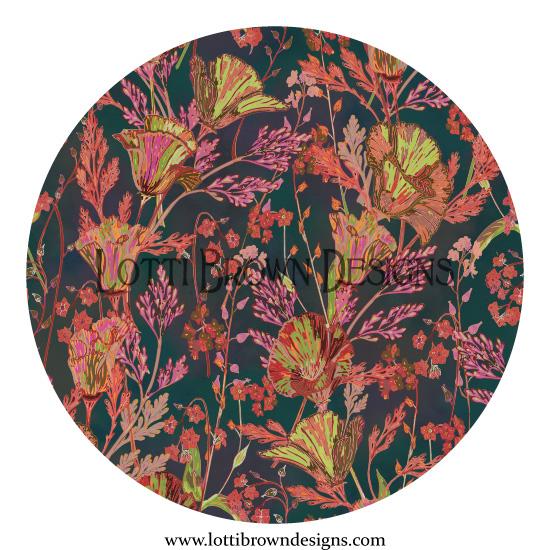 Poppy Garden (dark teal)