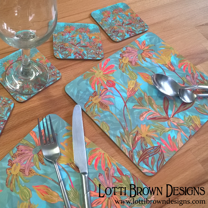 Gift idea - 'Fantasy Fall Flowers' placemats and coasters by Lotti Brown Designs (available at Zippi)