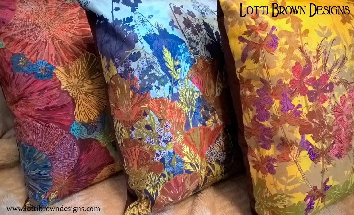 Colourful Lotti Brown cushions available at Zippi