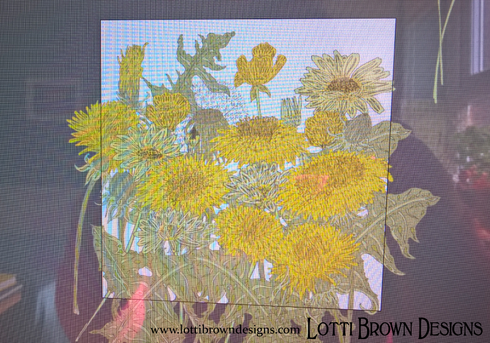 Working on my dandelion artwork, on the computer