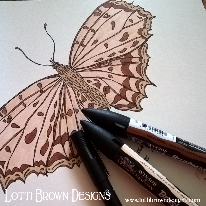 Completed butterfly drawing - all colours done with Brushmarkers