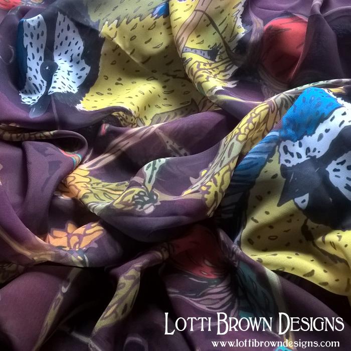 Bluetits silky scarf
