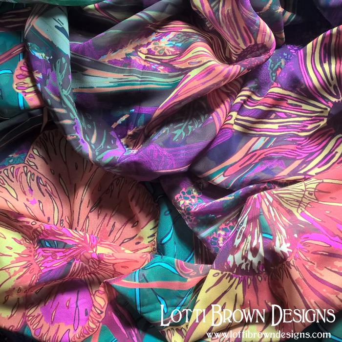 Autumn flowers silky scarf