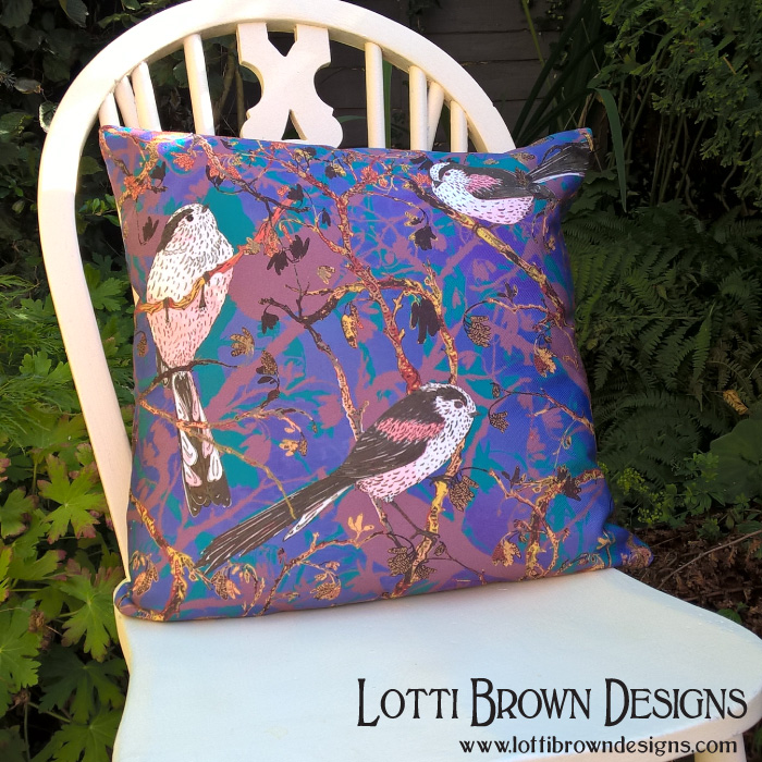 Long-tailed tits throw pillow (from Redbubble)
