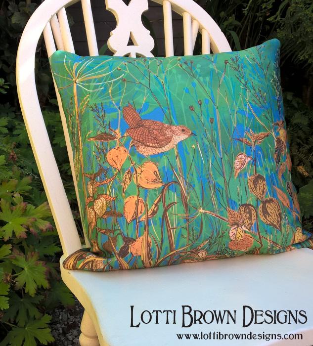 Wren cushion (from Redbubble)