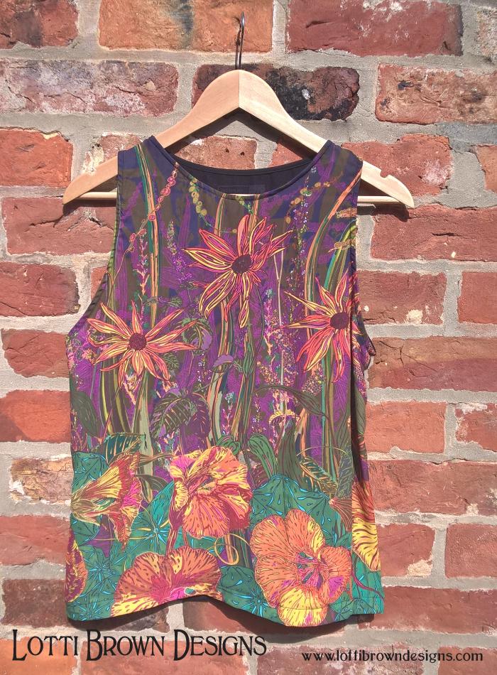 Purple floral fashion top
