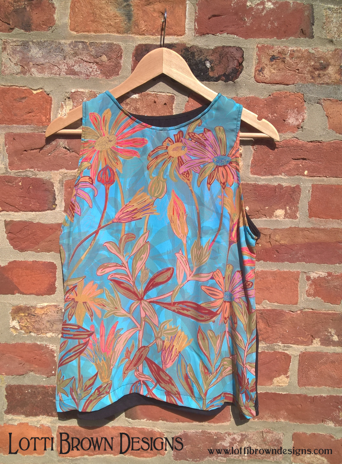 Blue floral women's fashion top