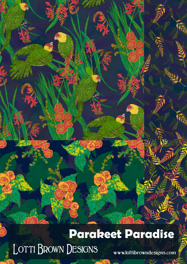 Parakeet Paradise pattern collection by Lotti Brown