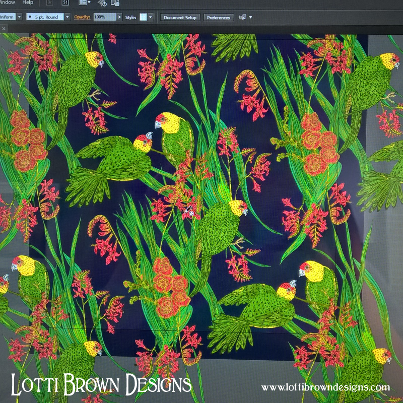 Adapting the parakeet artwork to a repeating pattern