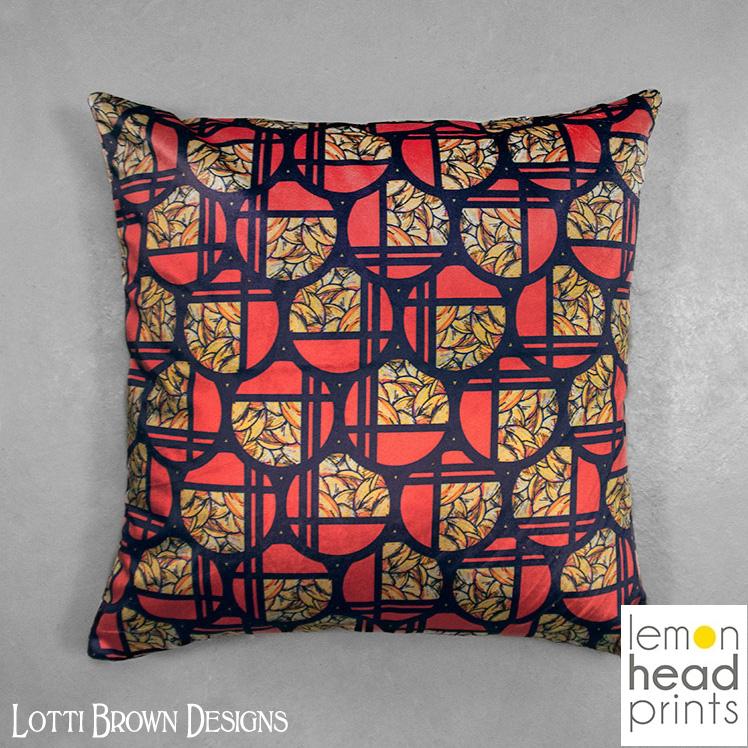 Geometric Art Deco cushion, exclusive to Lemon Head Prints