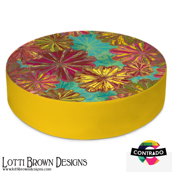 Poppytops circular floor cushion at Contrado