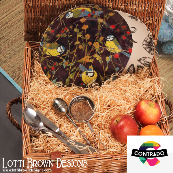 Blue tits plate by Lotti Brown, available from Contrado
