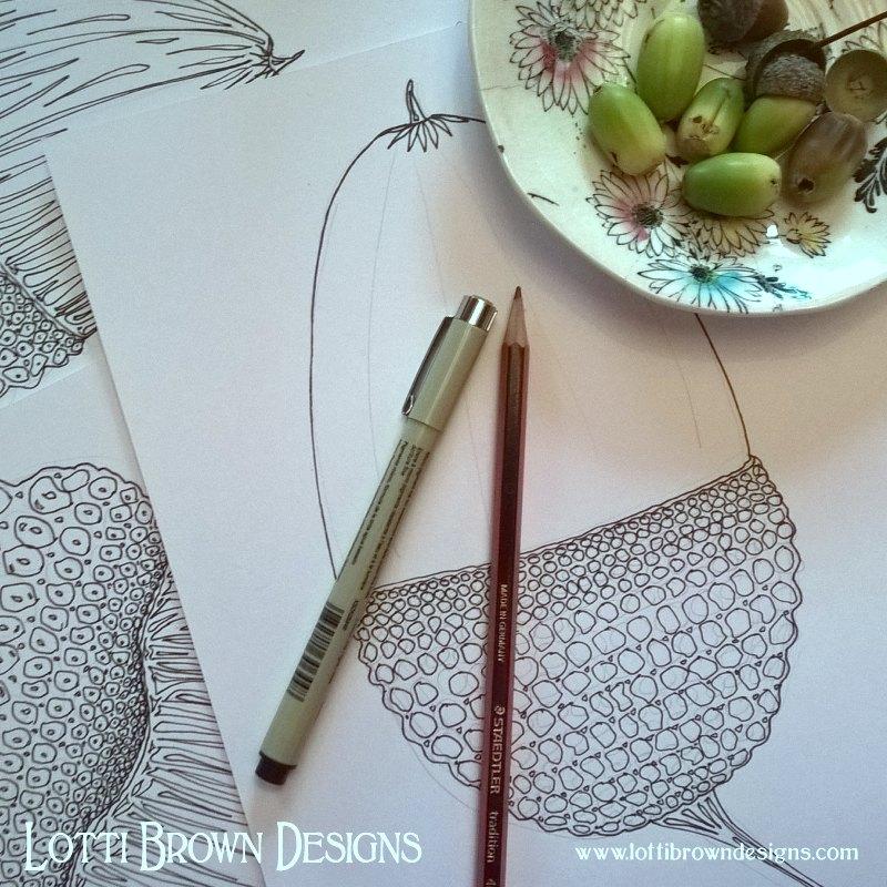 Drawing acorns