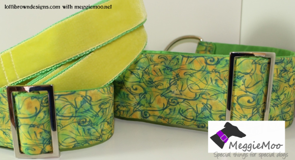Cheerful greyhound collar in yellow and green