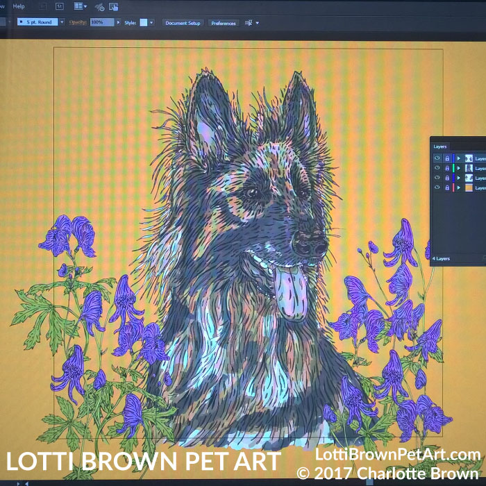 German Shepherd artwork on the computer - click to go behind the scenes