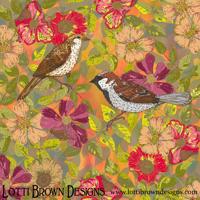 Sweet Sparrows and Briar Rose - click to find this print in my art store