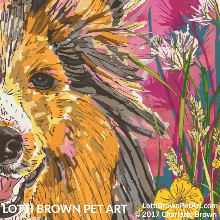 Artwork detail showing Sheltie fur and flowers