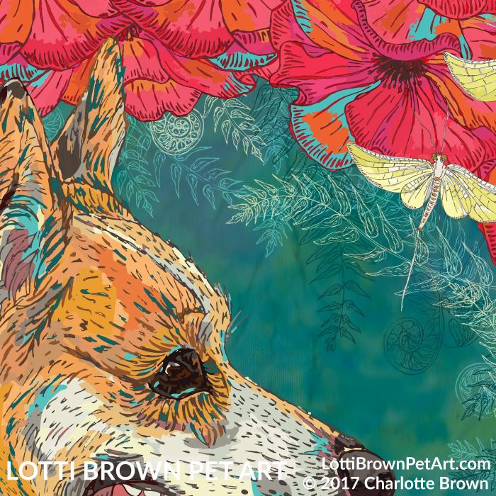 Detail of corgi artwork