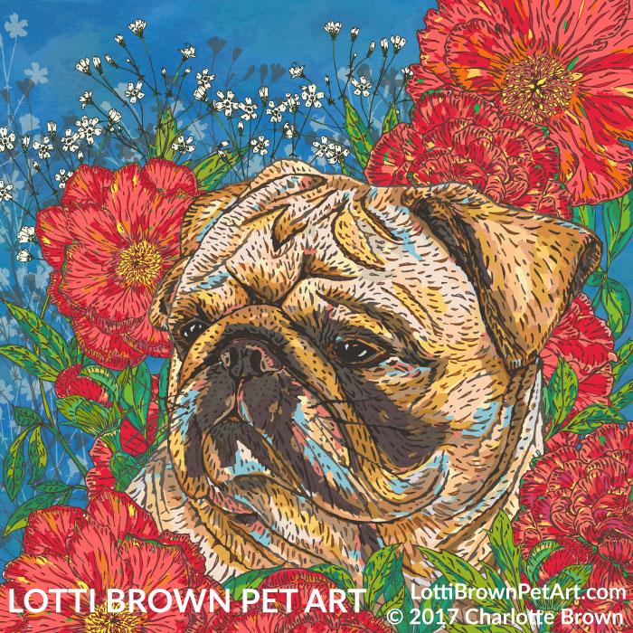 Pug art 'Pug in Peonies' by Lotti Brown