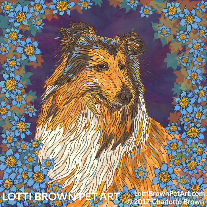 Rough collie art 'Noah with Blue Flowers' by Lotti Brown