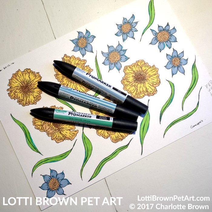 Drawing flowers for the artwork