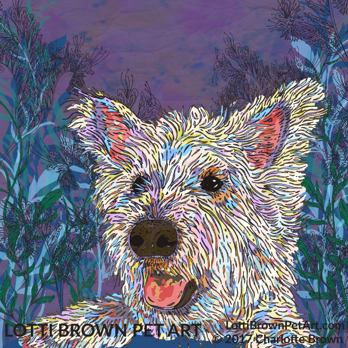 The completed West Highland Terrier artwork