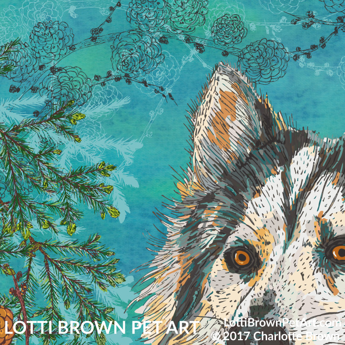 Showing detail from the husky artwork