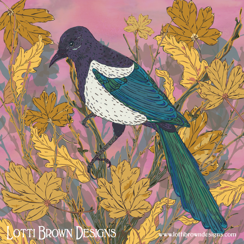 Mystical Magpie and Maple artwork by Lotti Brown