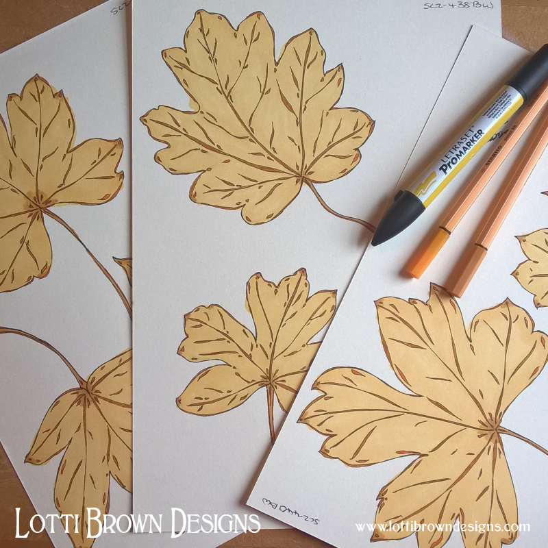 Adding colour to the maple leaves drawings