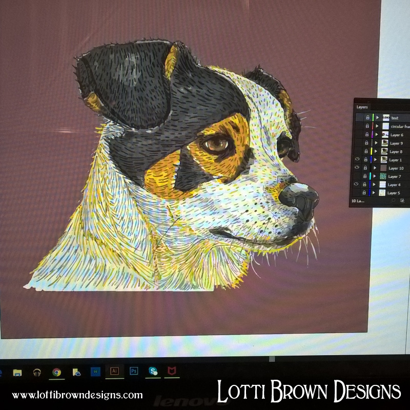 The drawing is scanned in and brought into Adobe Illustrator