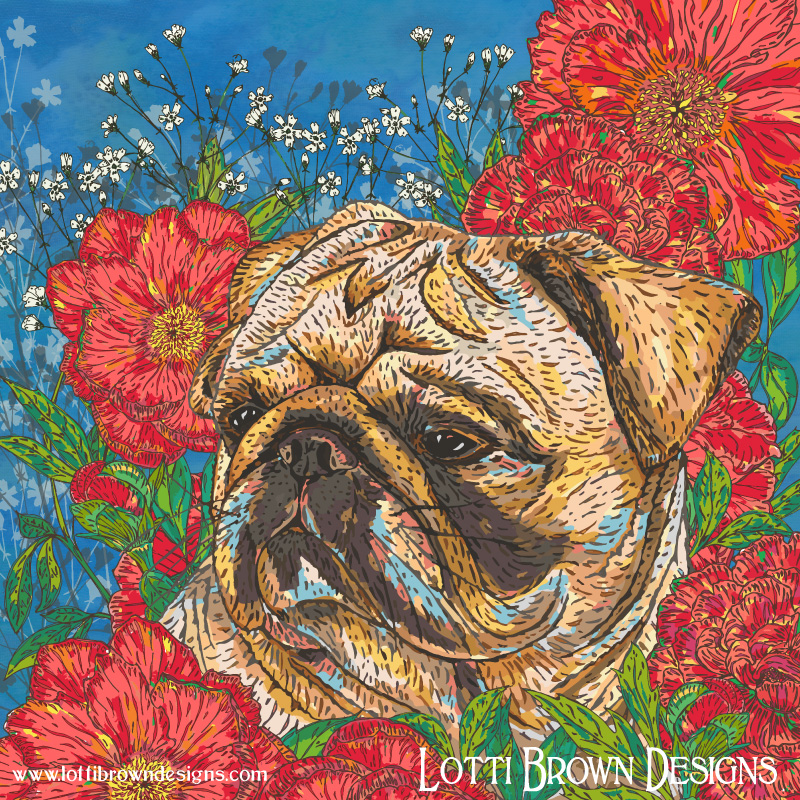 Pug in Peonies - click image to go behind the scenes