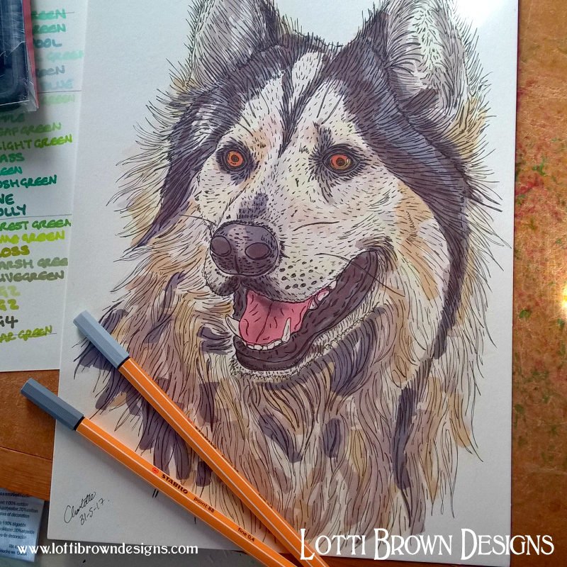 My signed and dated sketch drawing will be sent to you as part of your pet portrait package