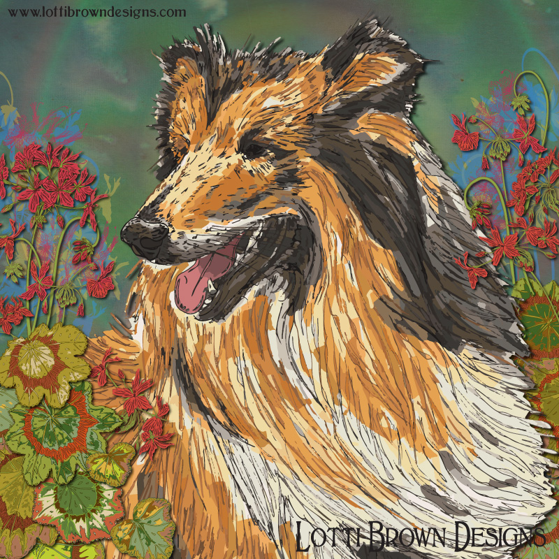 My beautiful rough collie art print - Noah's fur is touched with sunlight and he is having the most amazing adventure in the summer geraniums!