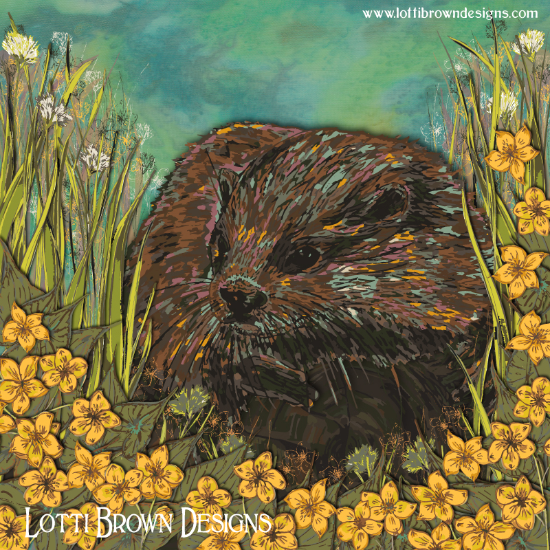 The finished otter and marsh-marigold artwork - an explosion of colour and energy - wild nature, untamed!