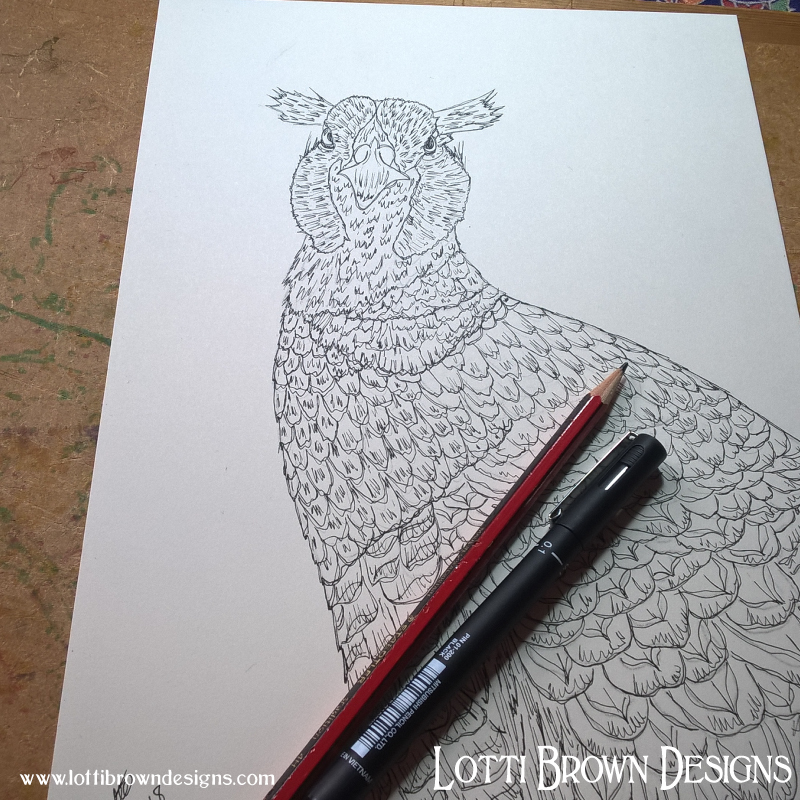 Inking out my pheasant drawing