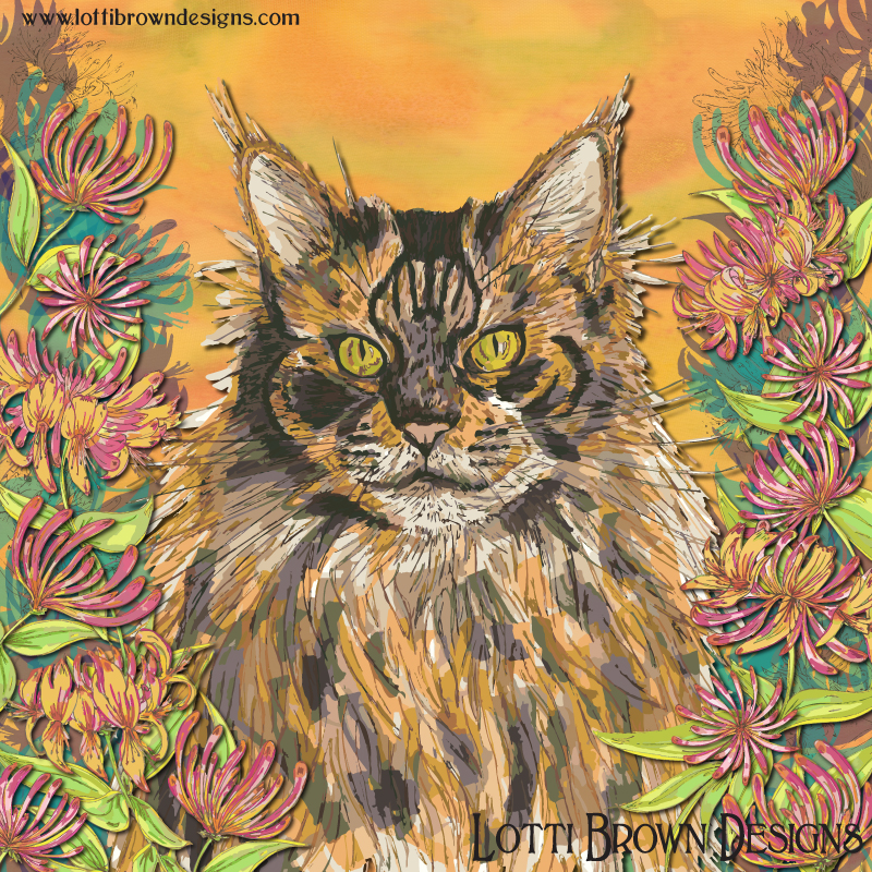 The completed Maine Coon cat artwork - colourful, vibrant and fun