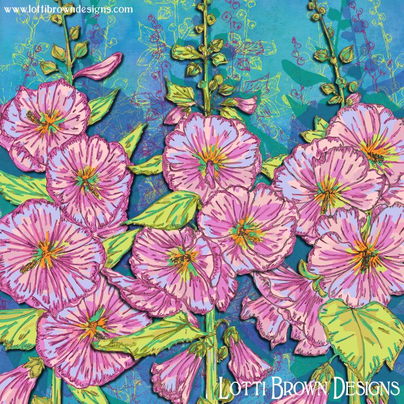 Final Hollyhocks artwork - colourful and joyful nature!