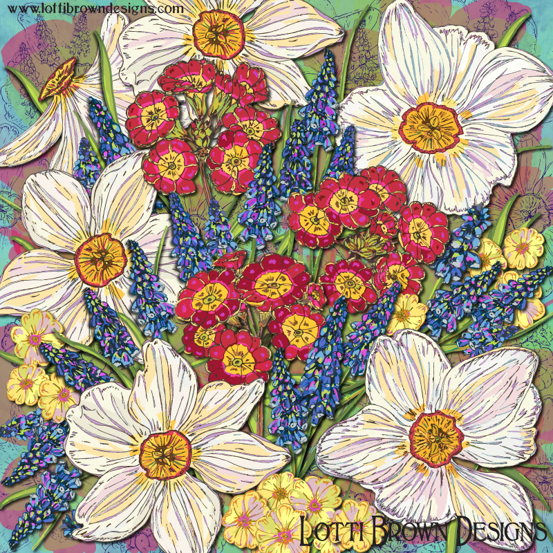 The completed 'Spring Flowers' artwork