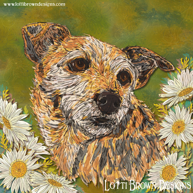Colourful border terrier art 'Jessie and Daisies' by Lotti Brown