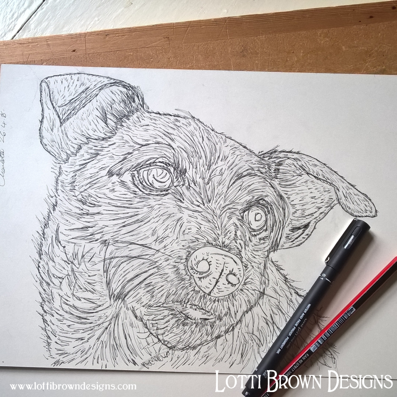 Starting the drawing in pen