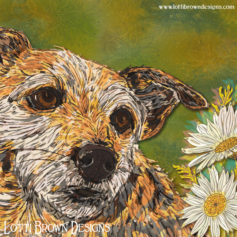 A look of doggie devotion - border terrier love! Detail from the artwork.