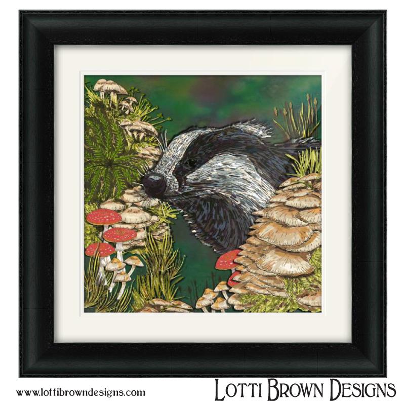 'Badger Woodland Walk' artwork by Lotti Brown