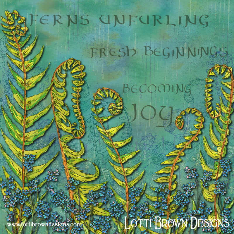 The completed colourful nature artwork ' Forget-me-not Ferns - Becoming Joy'